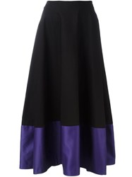 Jil Sander Navy Colour Block Hem A Line Skirt Black