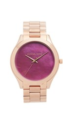Michael Kors Slim Runway Watch Rose Gold Plum