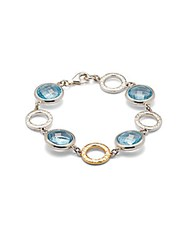 Gurhan Blue Topaz 24K Gold And Sterling Silver Station Bracelet No Color