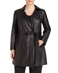 Lafayette 148 New York Jeanette Laser Cut Coat Black