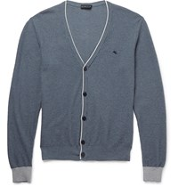 Etro Slim Fit Cotton And Cashmere Blend Cardigan Blue