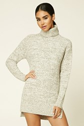 Forever 21 Marled Knit Fleece Sweater Cream Taupe