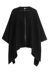 Max Mara Wool Cape With Leather Trim Black