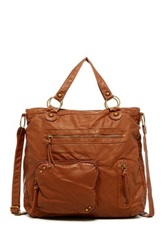 T Shirt And Jeans Front Pocket Tote Brown