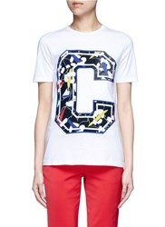 Etre Cecile 'Big C' Abstract Leopard Print Embroidery T Shirt Multi Colour