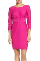 Donna Ricco Women's Textured Wrap Waist Sheath Dress Fuchsia