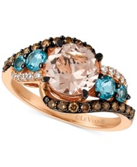 Le Vian Vianchocolatier Morganite 1 3 8 Ct. T.W. Blue Topaz 1 2 Ct. T.W. And Diamond 3 8 Ct. T.W. Ring In 14K Rose Gold Only At Macy's