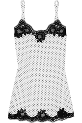 Dolce And Gabbana Lace Trimmed Polka Dot Stretch Silk Georgette Chemise