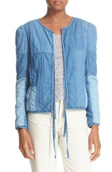 La Vie By Rebecca Taylor Women's Chambray Patchwork Jacket Indigo Chambray Patch