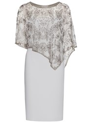Gina Bacconi Moss Crepe Dress With Beaded Cape Silver Mist
