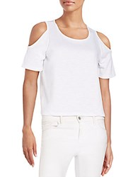 Saks Fifth Avenue Red Cropped Cold Shoulder Tee White