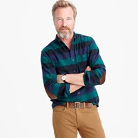J.Crew Tall Cotton Wool Elbow Patch Shirt In Arctic Navy Plaid