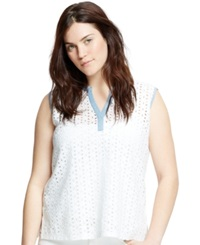 Violeta By Mango Plus Size Sleeveless Eyelet Top White