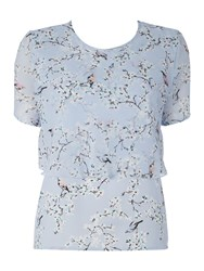 Therapy Floral Bird Print Double Layer Top Blue