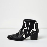 River Island Womens Black Western Studded White Strip Boots