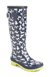 Joules Women's 'Welly' Print Rain Boot Marine Navy Scribbly Dog