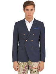 Manuel Ritz Slim Fit Stretch Cotton And Wool Jacket Blue