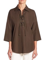 Akris Punto Tunic With Lace Up Detail Olive
