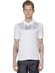 Alexander Mcqueen Sailor Embroidered Organic Pique Polo