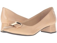 Trotters Louise Nude Patent Leather Women's Shoes Beige