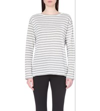 Reiss Quinnine Striped Cotton Jersey Top Grey White