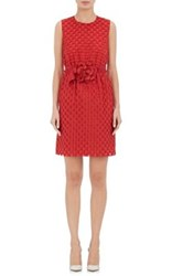 Lanvin Women's Dot Pattern Sleeveless Sheath Dress Red Size 4 Us