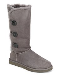 Ugg Tall Bailey Button Triplet Suede And Sheepskin Boots Grey