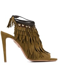 Aquazzura Fringed Peep Toe Mules Green