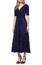 Alex Evenings Women's Mixed Media Tea Length Dress