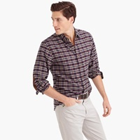 J.Crew Cotton Wool Elbow Patch Shirt In Vintage Navy Plaid