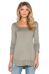 Splendid Very Light Jersey And Thermal Long Sleeve Loose Tee Sage