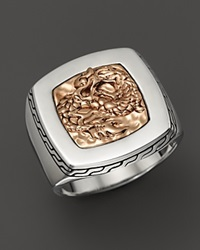 John Hardy Men's Naga Silver And Bronze Square Ring