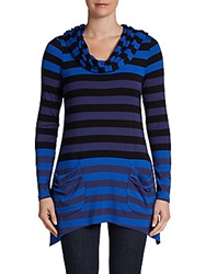 Saks Fifth Avenue Blue Striped Colorblock Tunic Navy Combo