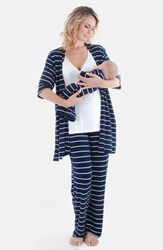 Women's Everly Grey 'Roxanne During And After' 4 Piece Maternity Sleepwear Set Navy