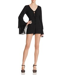 Vintage Havana Bell Sleeve Lace Up Romper Black