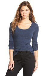 Petite Women's Caslon 'Melody' Long Sleeve Scoop Neck Tee Heather Navy Peacoat