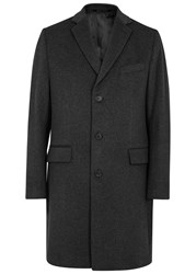 Oscar Jacobson Savile Row Charcoal Wool And Cashmere Blend Coat Black