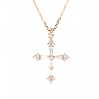 Stone 18Kt Rose Gold Heaven Necklace With White Diamonds Pink Gold