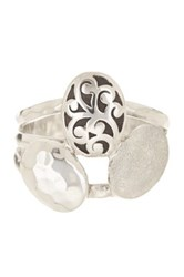 Lois Hill Sterling Silver Triple Tier Oval Stone Ring Size 9 No Color