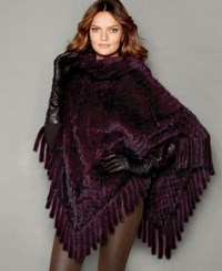 The Fur Vault Knitted Mink Fur Fringe Poncho Wine