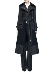 Alexander Mcqueen Cotton Patchwork Felted Virgin Wool Military Coat Black