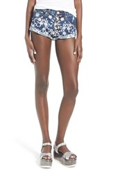 Women's Glamorous Embroidered Cotton Denim Shorts