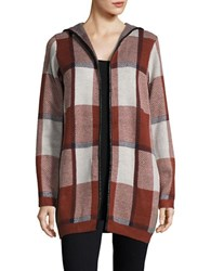Vero Moda Hooded Plaid Cardigan Fired Brick