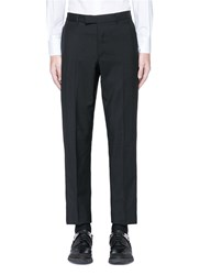 Valentino Leather Stripe Wool Mohair Pants Black
