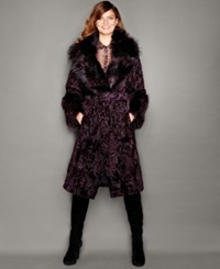 The Fur Vault Fox Fur Trim Swakara Lamb Fur Coat