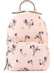 Red Valentino Floral Print Backpack Pink And Purple