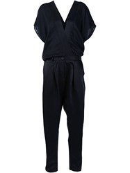 Isabel Benenato Relaxed V Neck Jumpsuit Black
