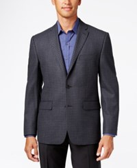 Vince Camuto Men's Slim Fit Gray Mini Windowpane Sport Coat