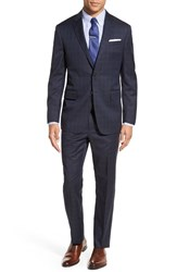 Todd Snyder Men's White Label 'May Fair' Trim Fit Windowpane Wool Suit Navy