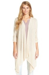 Painted Threads Stripe Open Front Cardigan Juniors Beige